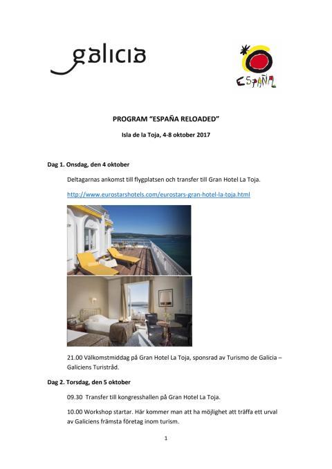 """Reseprogram """"ESPAÑA RELOADED"""" Isla de la Toja, 4-8 oktober 2017"""