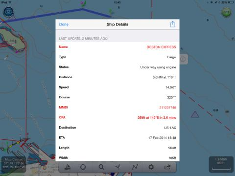 NavLink US with drill down on AIS target data