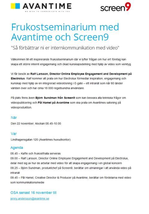 """Frukostseminarium med Avantime och Screen9 - """"Så förbättrar ni er internkommunikation med video"""""""