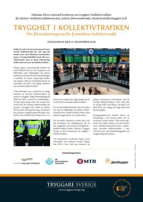 Trygghet i kollektivtrafiken – inbjudan till nationell konferens