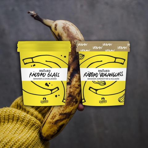 Räddade handskalade bananer blir glass