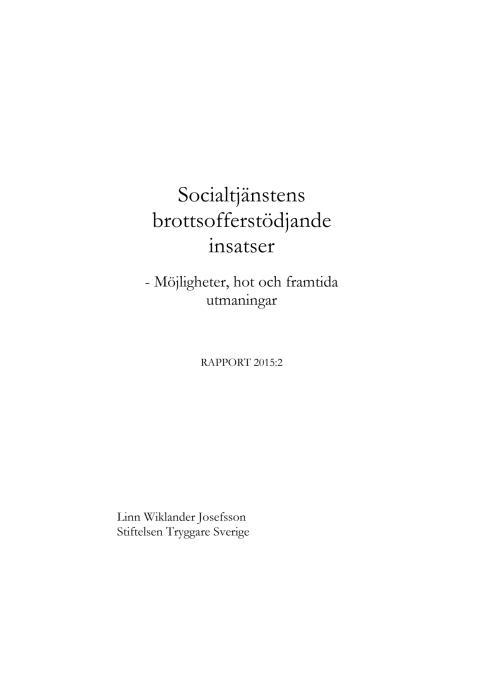 Socialtjänstens brottsofferstödjande insatser (rapport)