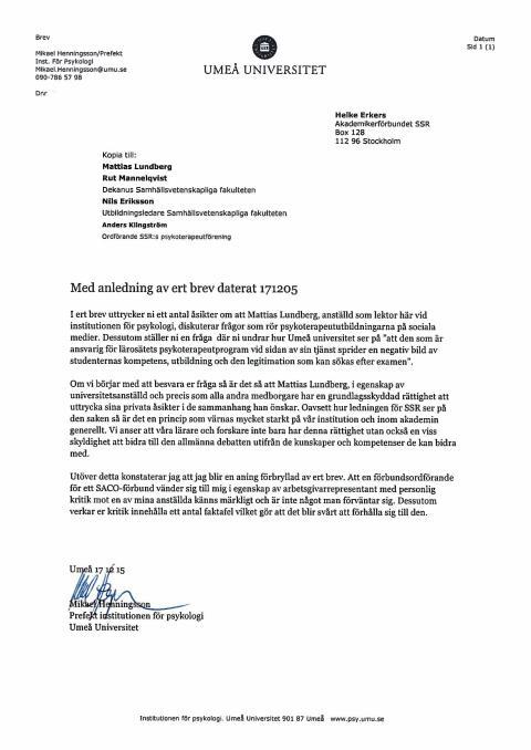 Umeå universitet svarar Akademikerförbundet SSR angående vad jag skriver på min privata blogg.