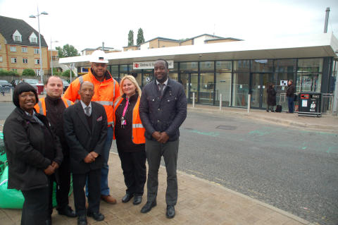 Station team and contracts manager mark the completion of Elstree & Borehamwood station