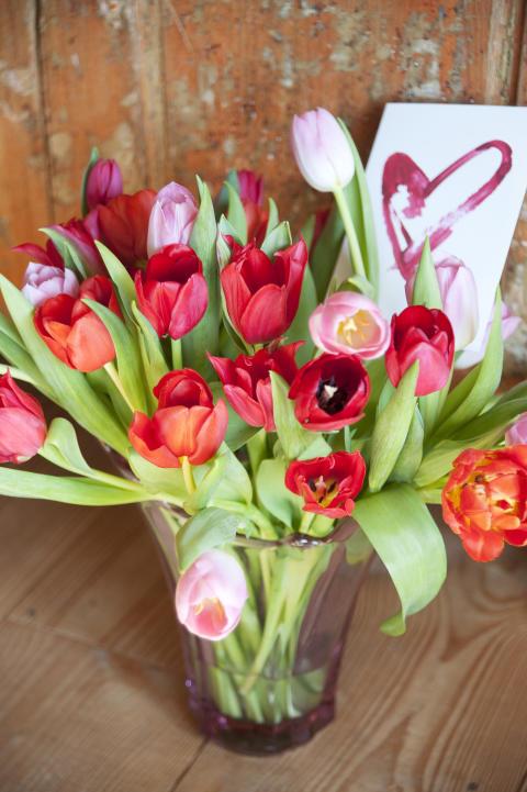 Fira Alla Hjärtans Dag med säsongens blommor