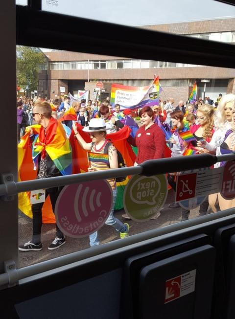 The Sunderland Pride bus joined the Sunderland Pride march