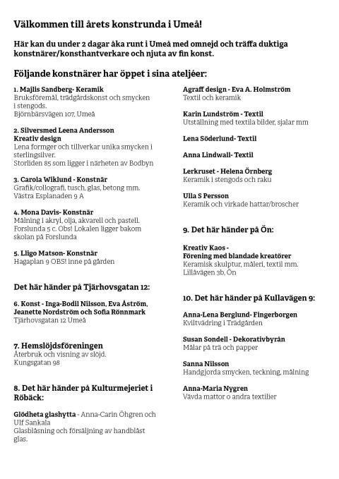 Umeå Konstrunda 2-3 september 2017