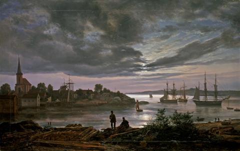 Alene med naturen. Johan Christian Dahl, Larvik havn i måneskinn, 1839
