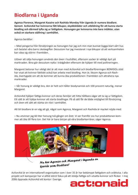 Kvinnor i Uganda framgångsrika biodlare