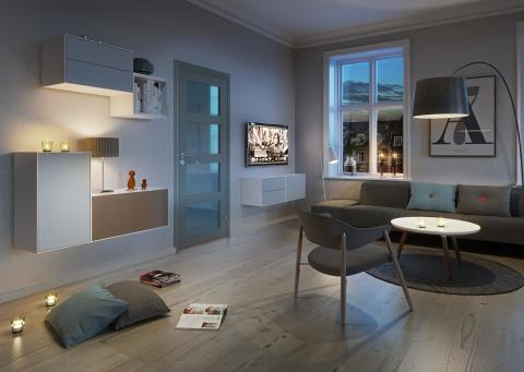 Moderne stue, kveld   swedoor jw