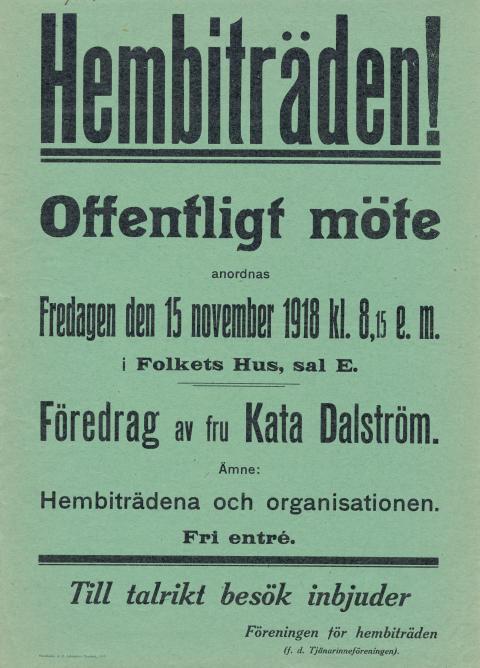 Hembiträden/Petra Bauer affisch