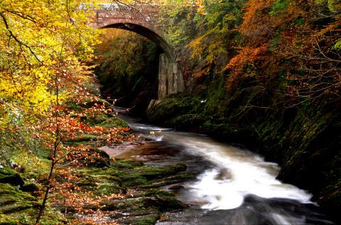 Gannochy Bridge over the River Esk, near Edzell, Angus