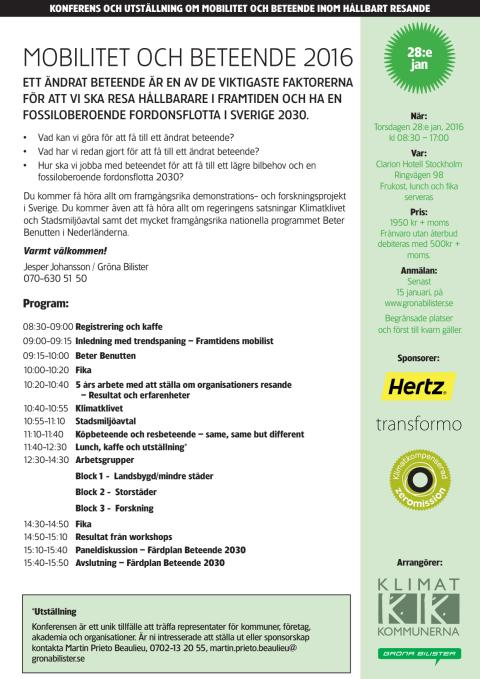 """Inbjudan till konferens och utställning """"Mobilitet och Beteende 2016"""""""