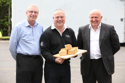Steve Foster, Mark Beeston and Simon Dunkley with their award winning pie