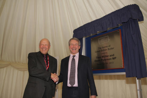 Theo Müller Snr and Owen Paterson Unveiling the Butter Plant Plaque
