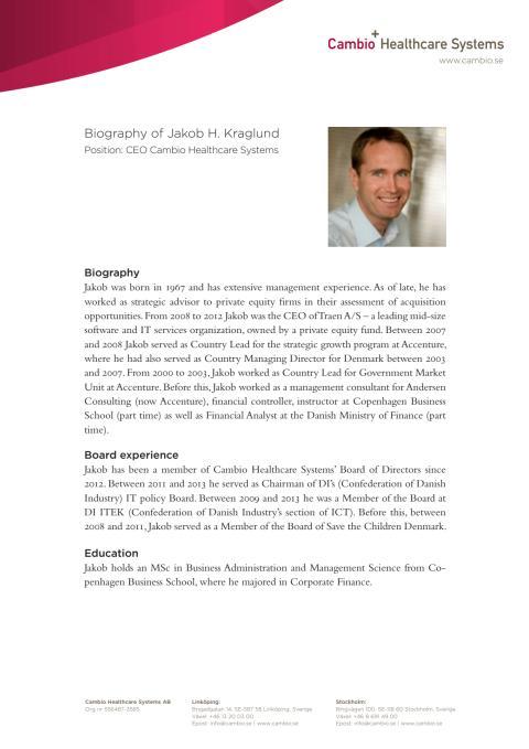 Biography Cambio CEO - Jakob H Kraglund