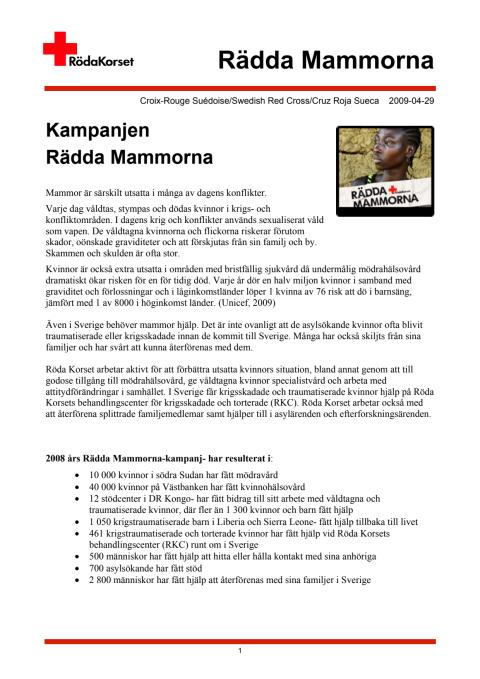 Fakta om Rädda Mammorna