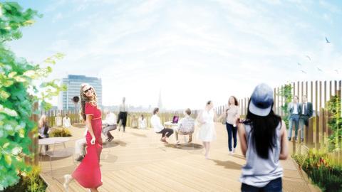 Visionsbild över takparken åp Sveavägen 44