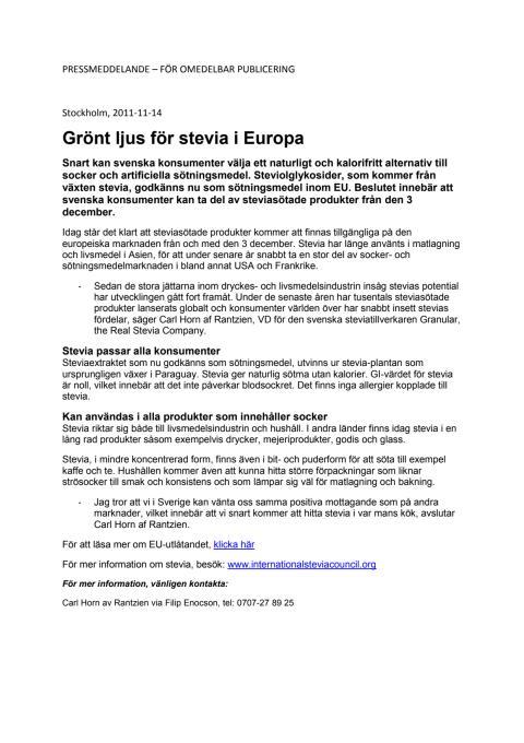 Grönt ljus för stevia i Europa
