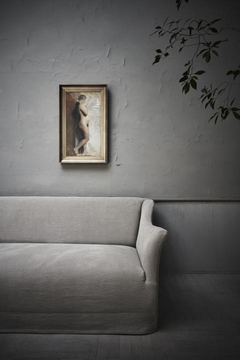 Hammershøi: Female Nude. Standing. In Profile Towards Right