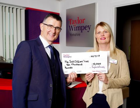 Taylor Wimpey donates £10,000 to The Sick Children's Trust
