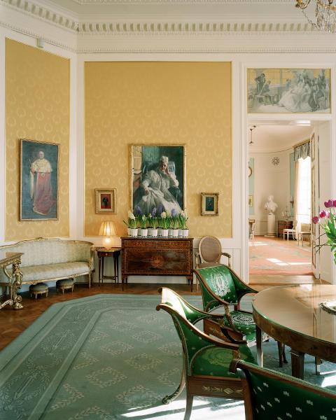 Interiör från salongen i slottets sällskapsvåning