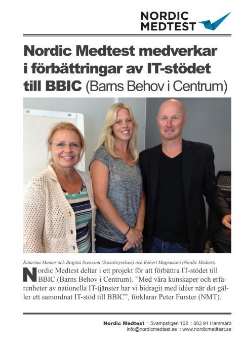Referensblad: Nordic Medtest medverkar i förbättringar av IT-stödet till BBIC (Barns Behov i Centrum)