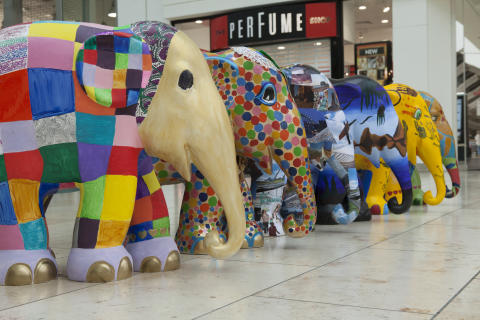 Schools parade: Six elephants from Gateshead children join the Elephant Parade UK tour today.