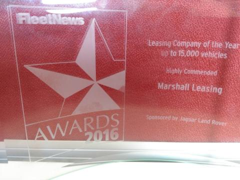 Marshall Leasing awarded 'Highly Commended ' Fleet News Leasing Company of the Year – up to 15,000 vehicles'