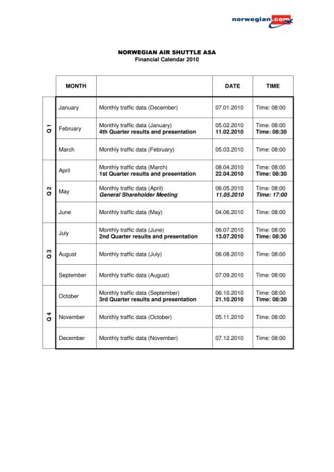 Financial Calendar 2010