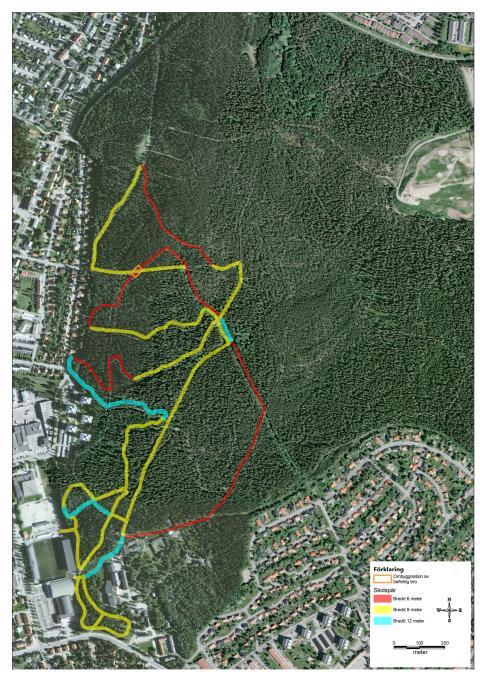 Karta över spår i Gammliaskogen