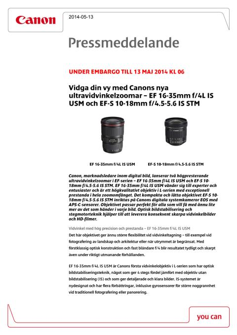 Canon Tekniska specifikationer EF 16-35mm f/4L IS USM