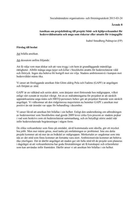 Folkpartiets förslag till beslut om projektbidrag till GAPF