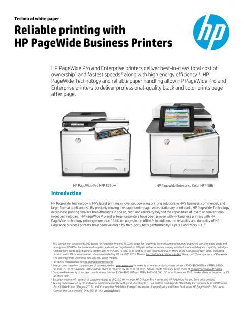 Pålitelig utskrift med HP PageWide Business Printers (dataark)