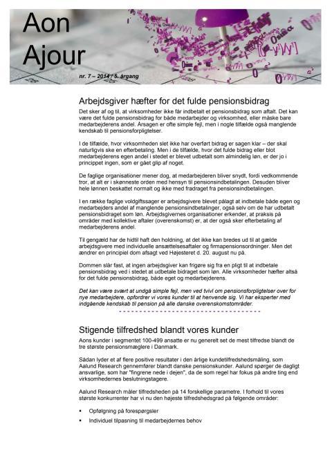 Aon Ajour 7-2014: Arbejdsgiver hæfter for det fulde pensionsbidrag