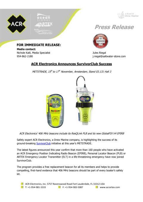 ACR Electronics Announces SurvivorClub Success