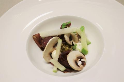 Salted and smoked reindeer served with truffle mayonnaise, mushrooms, turnip cabbage, apple rémoulade and roasted corn of barley