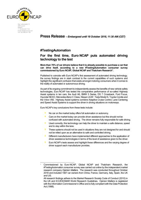 Euro NCAP #TestingAutomation press release - October 2018