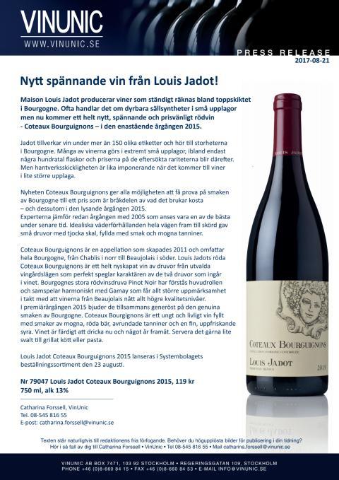 Nytt spännande vin från Louis Jadot!
