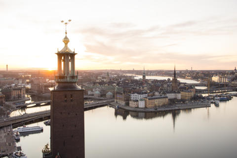 View over Riddarholmen and the tower of the City Hall in Stockholm.