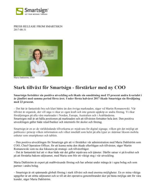 Stark tillväxt för Smartsign - förstärker med ny COO