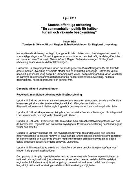 Skånes inspel till SOU Besöksnäring och turism