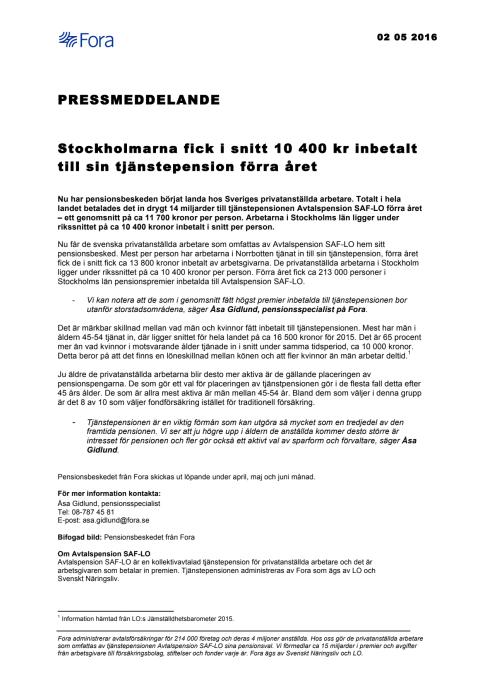 Stockholmarna fick i snitt 10 400 kr inbetalt till sin tjänstepension förra året
