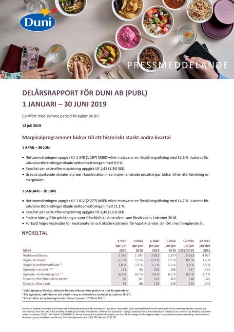 Delårsrapport för Duni AB (publ) 1 januari - 30 juni 2019
