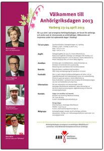 Anhörigriksdagen 2013 - program och anmälan