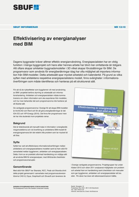 SBUF Informerar, nr. 12-10 Effektivisering av energianalyser med BIM