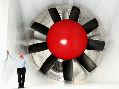 The Volvo Cars Wind Tunnel. Illustrating the size - man standing.