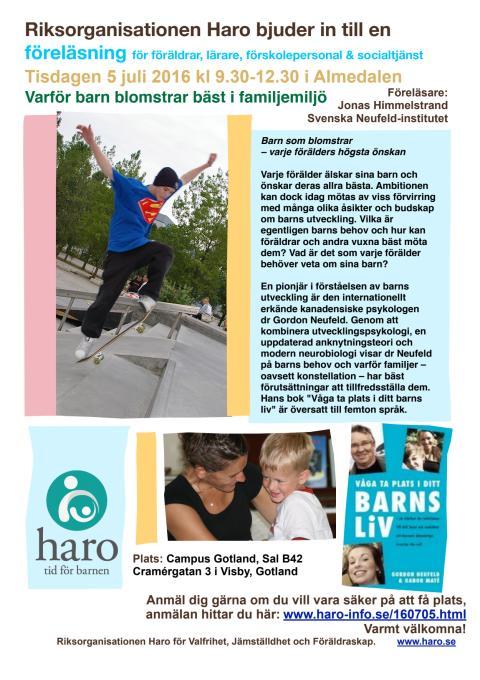 Haro talar i Almedalen - Varför barn blomstrar bäst i familjemiljö