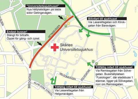 Omfattande förändringar i trafiken vid Universitetssjukhuset i Lund