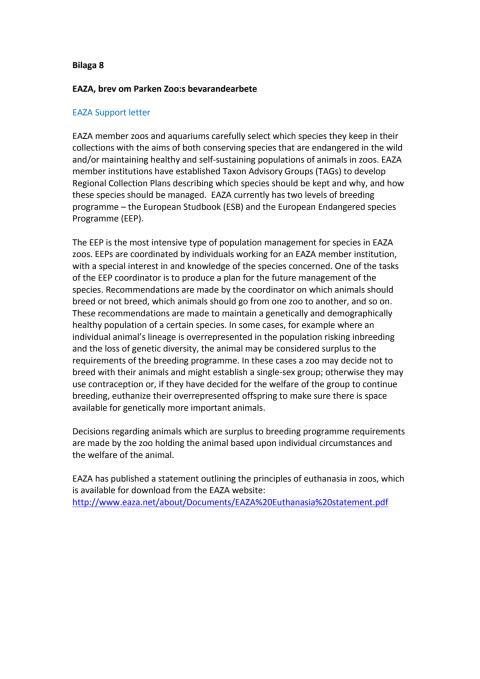 Bilaga 8 EAZA, brev om Parken Zoo bevarandearbete